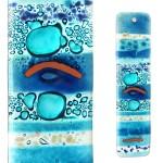 Glasstaaf/Vogelverschrikker in glas - blauw