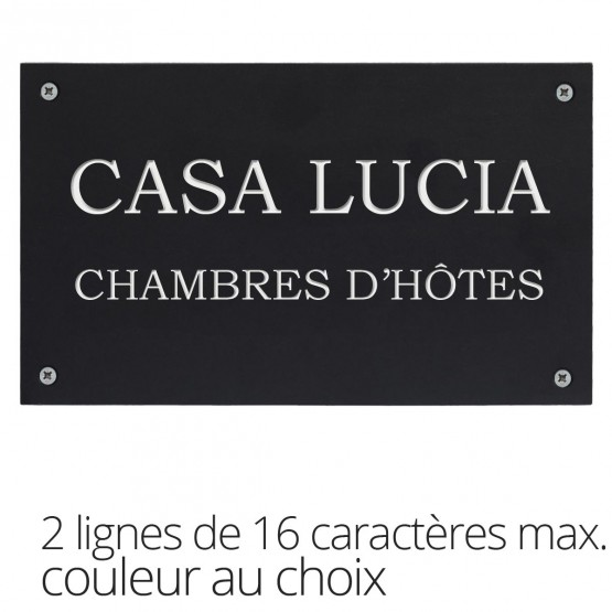 Huisnummerplaatje in gerecycleerd plastiek - TWEE lijnen met elk 16 karakters
