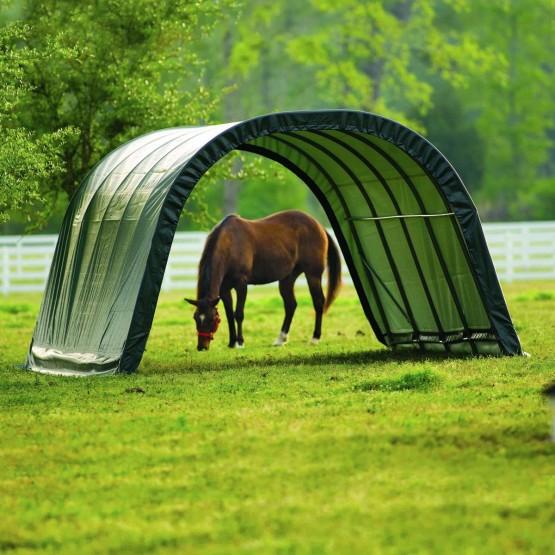 Schuilplaats voor paarden en stro van 3,70 x 6,10 m