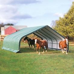 Schuilplaats voor paarden en stro van 6,70  x 6,10 m