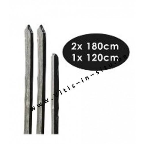 Afboording in zwarte leisteen -paaltje van 120 cm x1 + 180 cm x 2