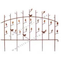 Afsluiting in staal met vogel- en bladmotief