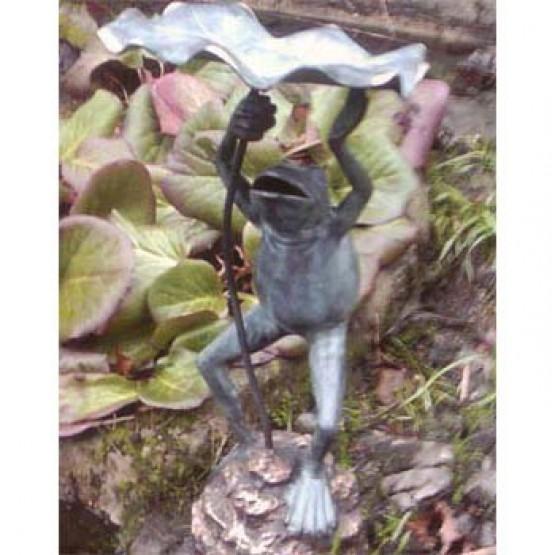 bronzen sculptuur - kikker met een lelieblad