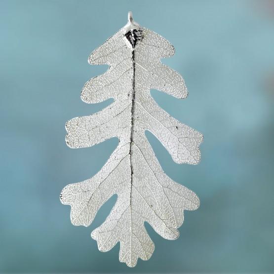 Eikenblad in zilver