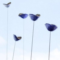 klaproos in keramiek - blauw/ set van VIJF