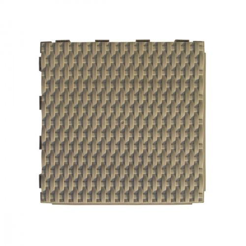 Vierkanten tegel 28 x 28cm - gevlochten - donkerkastanje