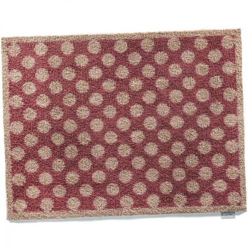vloermatje gespikkeld beige / rood - 65x85 cm