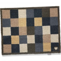 vloermatje schaakbordmotief blauw/kastanje - 65x85 cm