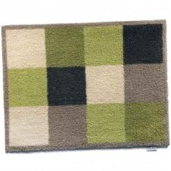 vloermatje schaakbordmotief groen/beige - 65x85 cm
