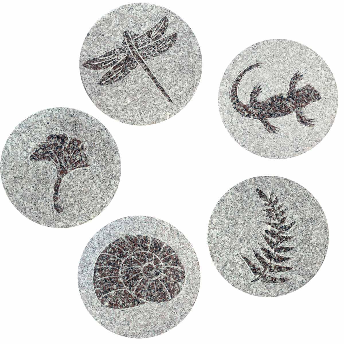 Japanse tuintegel in graniet set van vijf tegels - Japanse tuindecoratie ...