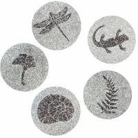 Japanse tuintegel in graniet - set van vijf tegels