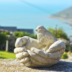 Vogelbad- sculptuur in beton