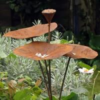 ijzeren drink-en eetbakje voor vogels in lotusvorm - 140 cm