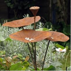 ijzeren drink-en eetbakje voor vogels in lotusvorm - 120 cm