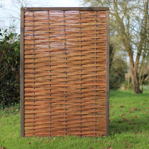 paneel in gevlochten wilgenhout 120x180 cm met dennenhouten kader