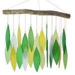 windgong met glasplaatjes - groen