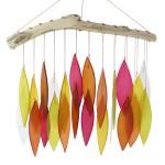 windgong met glasplaatjes - oranje/geel
