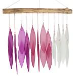 windgong met glasplaatjes - roze